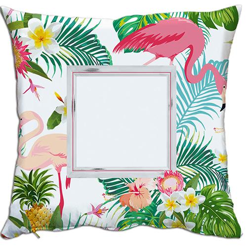 Szublimálható 38 x 38 cm kétszínű szaténnal bevont párnahuzat - Flamingó