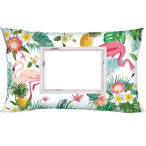 Szublimálható 70 x 40 cm kétszínű szaténnal bevont párnahuzat - Flamingó