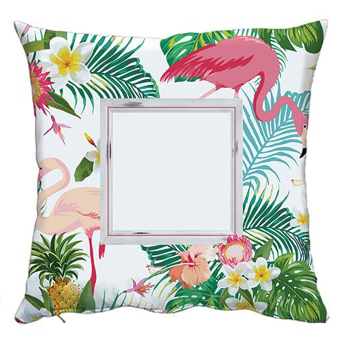 Szublimálható 50 x 50 cm kétszínű szaténnal bevont párnahuzat - Flamingó