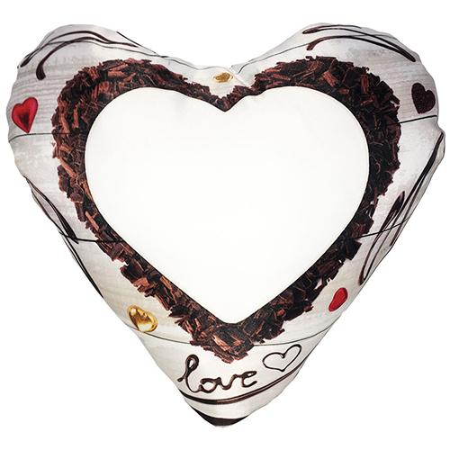 Szublimálható 38 x 38 cm kétszínű szaténnal bevont szív alakú párnahuzat - Csokoládé szív