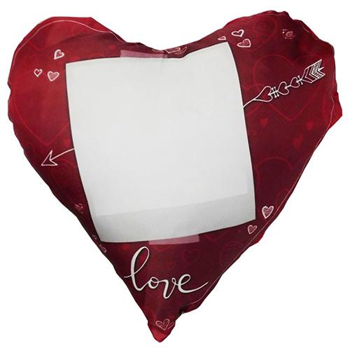 Szublimálható 38 x 38 cm kétszínű szaténnal bevont szív alakú párnahuzat - Szerelem