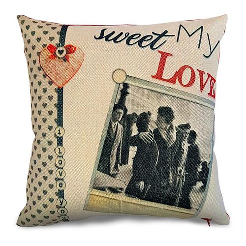 Szublimálható 38 x 38 cm kétszínű vászon párnahuzat - Édes szerelmem
