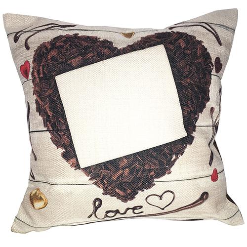 Szublimálható 38 x 38 cm kétszínű vászon párnahuzat - Csoki szív