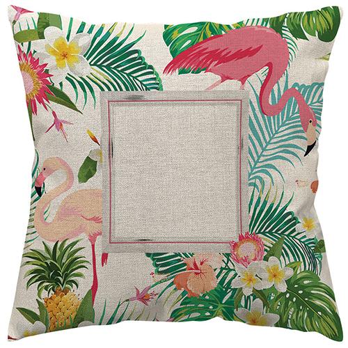 Szublimálható 50 x 50 cm kétszínű vászon párnahuzat - Flamingó