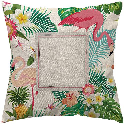 Szublimálható 70 x 70 cm kétszínű vászon párnahuzat - Flamingó