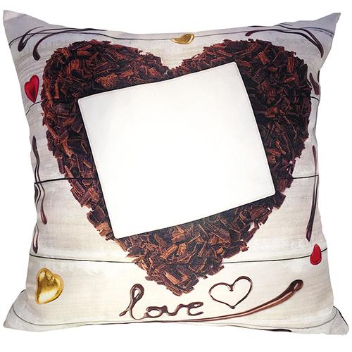 Szublimálható 38 x 38 cm kétszínű szaténnal bevont párnahuzat - Csoki szív