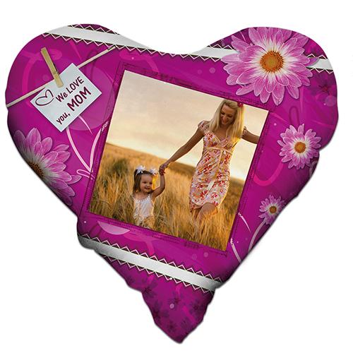 Szublimálható 38 x 38 cm kétszínű szatén szívalakú párnahuzat - Fukszia