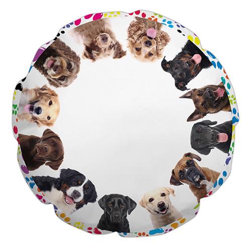 Szublimálható Ø 60 cm-es TENT poliészter párnahuzat - Kutyák