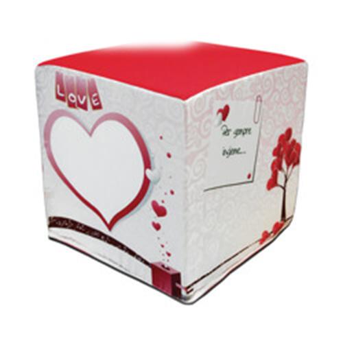 Szublimálható kétszínű szatén huzat kocka puffhoz - Szerelem
