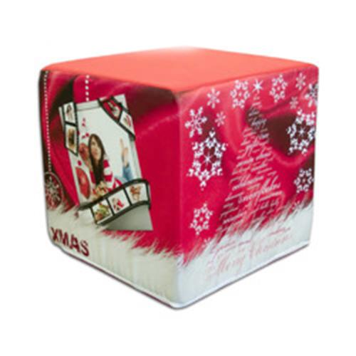 Szublimálható kétszínű szatén huzat kocka puffhoz - Karácsony