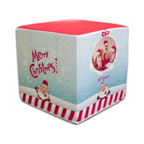 Szublimálható kétszínű szatén huzat kocka puffhoz - Boldog Karácsonyt