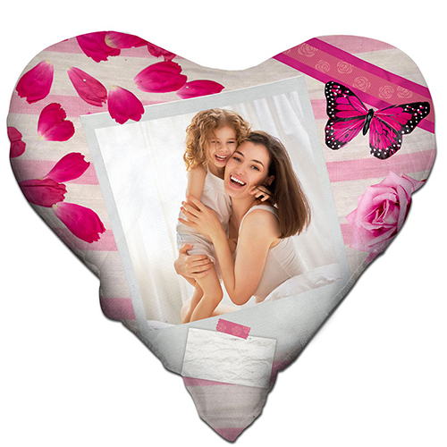 Szublimálható 38 x 38 cm kétszínű szatén szívalakú párnahuzat - Rózsa