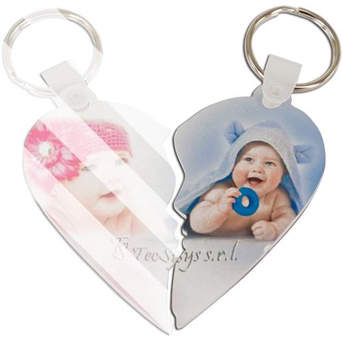 Szublimálható műanyag kulcstartó - szív (jobb oldal)