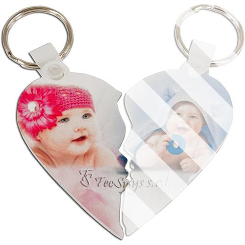 Szublimálható műanyag kulcstartó - szív (bal oldal)