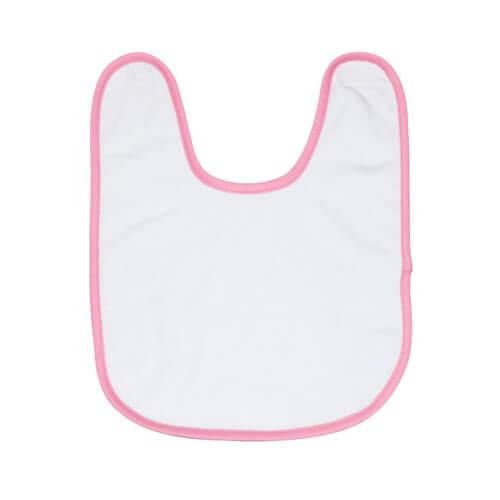 Frottírozott baby előke rózsaszín szegéllyel, szublimáláshoz, préseléshez