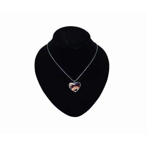Fémláncos, szív alakú nyaklánc szögletes kutyabilétával, szublimáláshoz, préseléshez