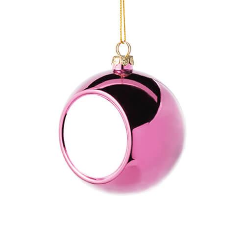 8 cm átmérőjű karácsonyfa gömb szublimáláshoz - rózsaszín