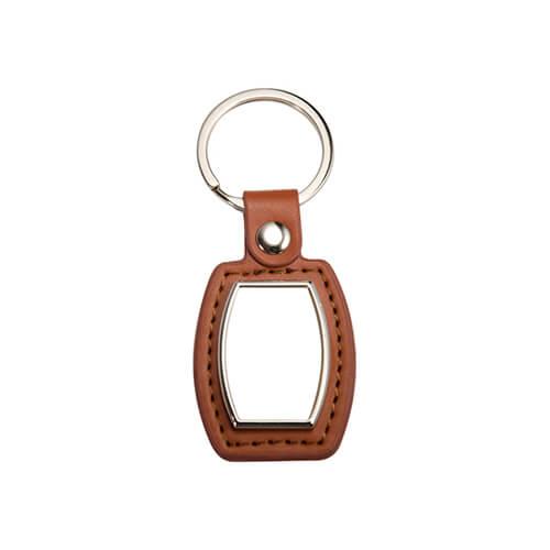 Bőr és fém kulcstartó szublimáláshoz - hordók alakú - barna