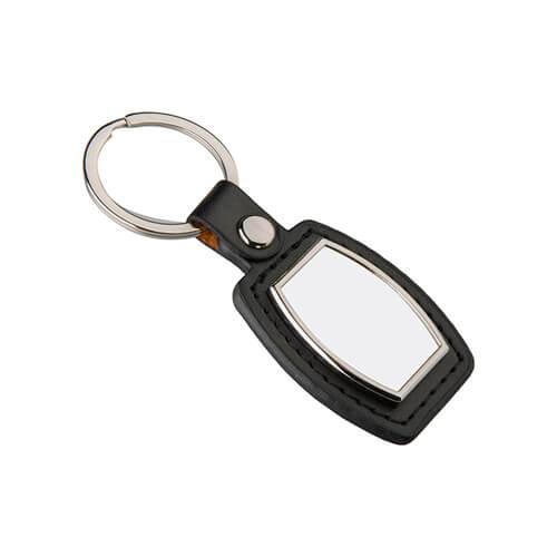Bőr és fém kulcstartó szublimáláshoz - hordó alakú - fekete