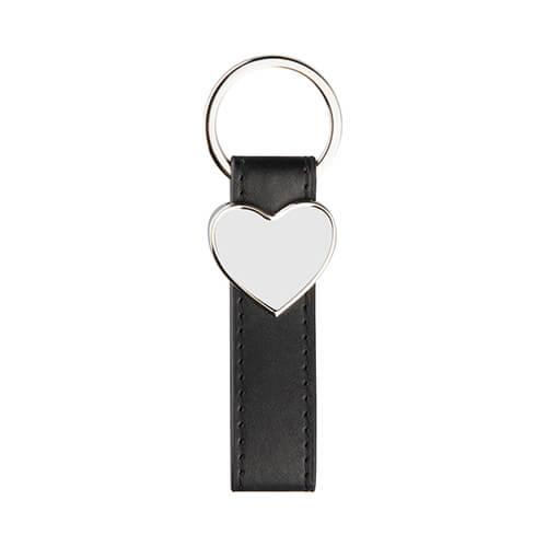 Bőr és fém kulcstartó szublimáláshoz - szív alakú - fekete