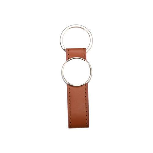 Bőr és fém kulcstartó szublimáláshoz - kerék alakú - barna