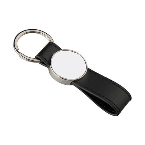 Bőr és fém kulcstartó szublimáláshoz - kerék alakú - fekete