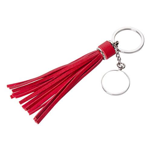 Piros, hosszú rojtos, kerek kulcstartó szublimáláshoz, préseléshez