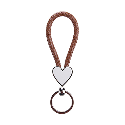 Szublimálható Kulcstartó fonott szív - barna