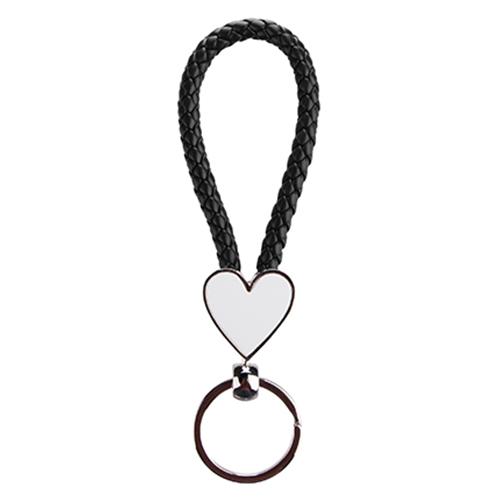 Szublimálható Kulcstartó fonott szív - fekete