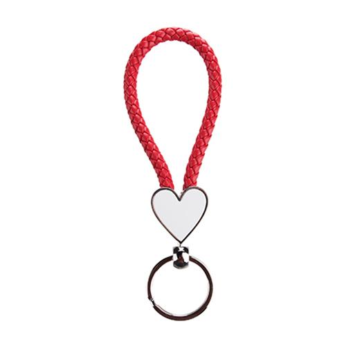 Szublimálható Kulcstartó fonott szív - piros