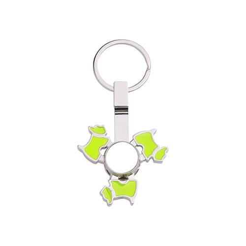 Fém kulcstartó - kutya alakú, zöld fidget spinnerrel - szublimáláshoz