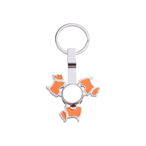 Fém kulcstartó - kutya alakú, narancssárga fidget spinnerrel - szublimáláshoz