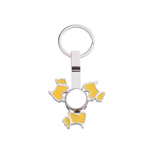 Fém kulcstartó - kutya alakú, sárga fidget spinnerrel - szublimáláshoz