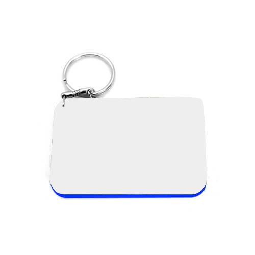 80 x 55 mm-es fehér, kék szegélyes kulcstartó szublimáláshoz, préseléshez
