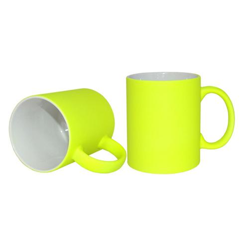 Neon bögre - matt sárga, szublimáláshoz, préseléshez