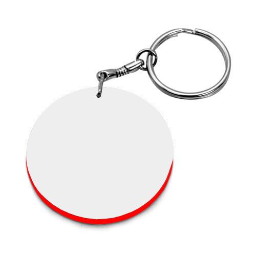 39 mm-es fehér, piros szegélyes kulcstartó szublimáláshoz, préseléshez