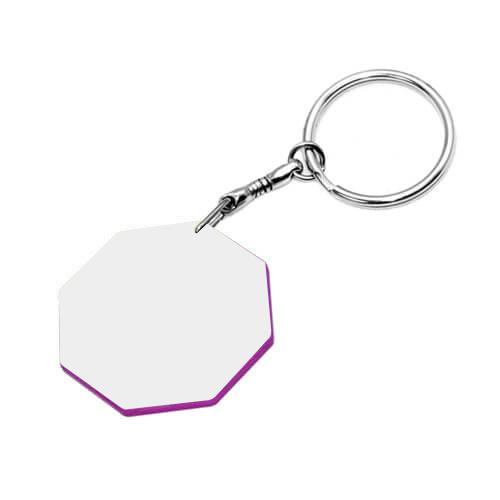 43 mm-es fehér, lila szegélyes kulcstartó szublimáláshoz, préseléshez