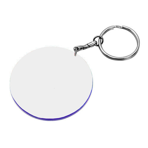 47 mm-es fehér, kék szegélyes kulcstartó szublimáláshoz, préseléshez