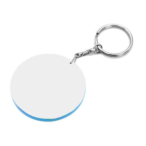 60 mm-es fehér, kék szegélyes kulcstartó szublimáláshoz, préseléshez