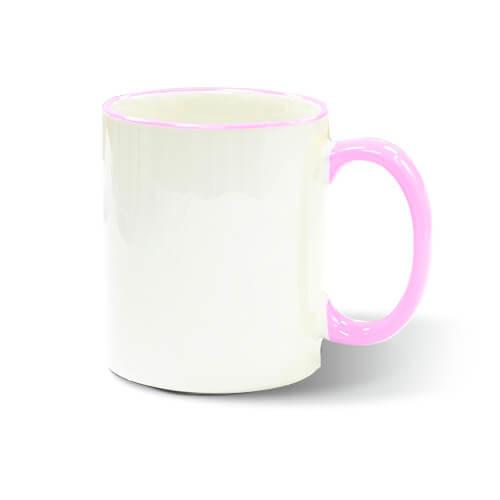 330 ml-es JS Coating bögre rózsaszín füllel, szublimáláshoz, préseléshez