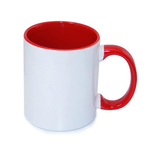 330 ml-es, piros, ECO besorolású FUNNY bögre, szublimáláshoz, préseléshez