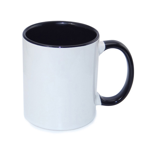 330 ml-es, fekete, ECO besorolású FUNNY bögre, szublimáláshoz, préseléshez