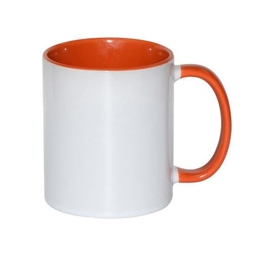 330 ml-es, narancssárga, A+ besorolású FUNNY bögre, szublimáláshoz, préseléshez