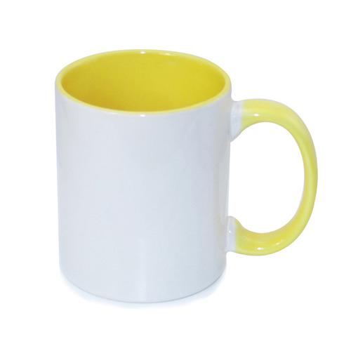 330 ml-es, sárga, ECO besorolású FUNNY bögre, szublimáláshoz, préseléshez