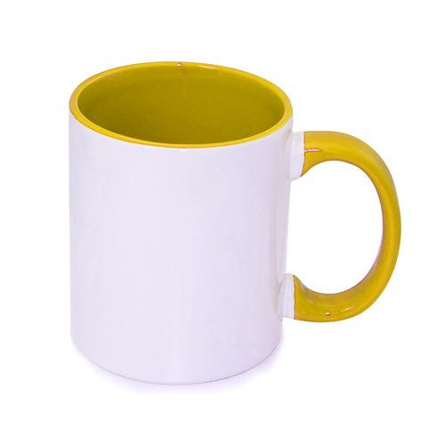 330 ml-es, aranysárga, ECO besorolású FUNNY bögre, szublimáláshoz, préseléshez