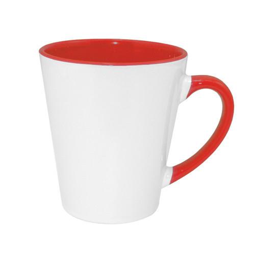 Kis FUNNY latte bögre, piros belső résszel, szublimáláshoz, préseléshez