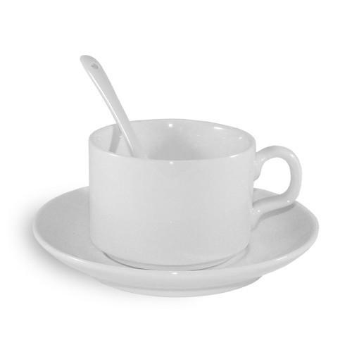 ECO besorolású, fehér csésze csészealjjal és teáskanállal, szublimáláshoz, préseléshez