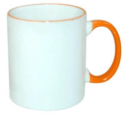 330 ml-es JS Coating bögre narancssárga füllel, szublimáláshoz, préseléshez