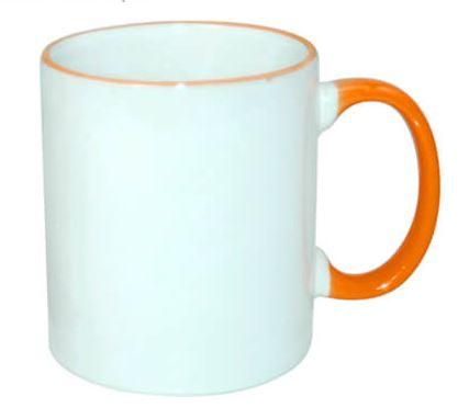 330 ml-es ECO bögre narancssárga füllel, szublimáláshoz, préseléshez