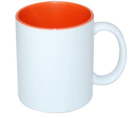 330 ml-es ECO bögre narancssárga belső résszel, szublimáláshoz, préseléshez